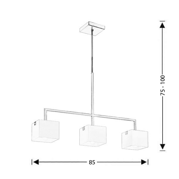 Modern Murano chandelier | CUBE - Drawing - Modern Murano chandelier | CUBE