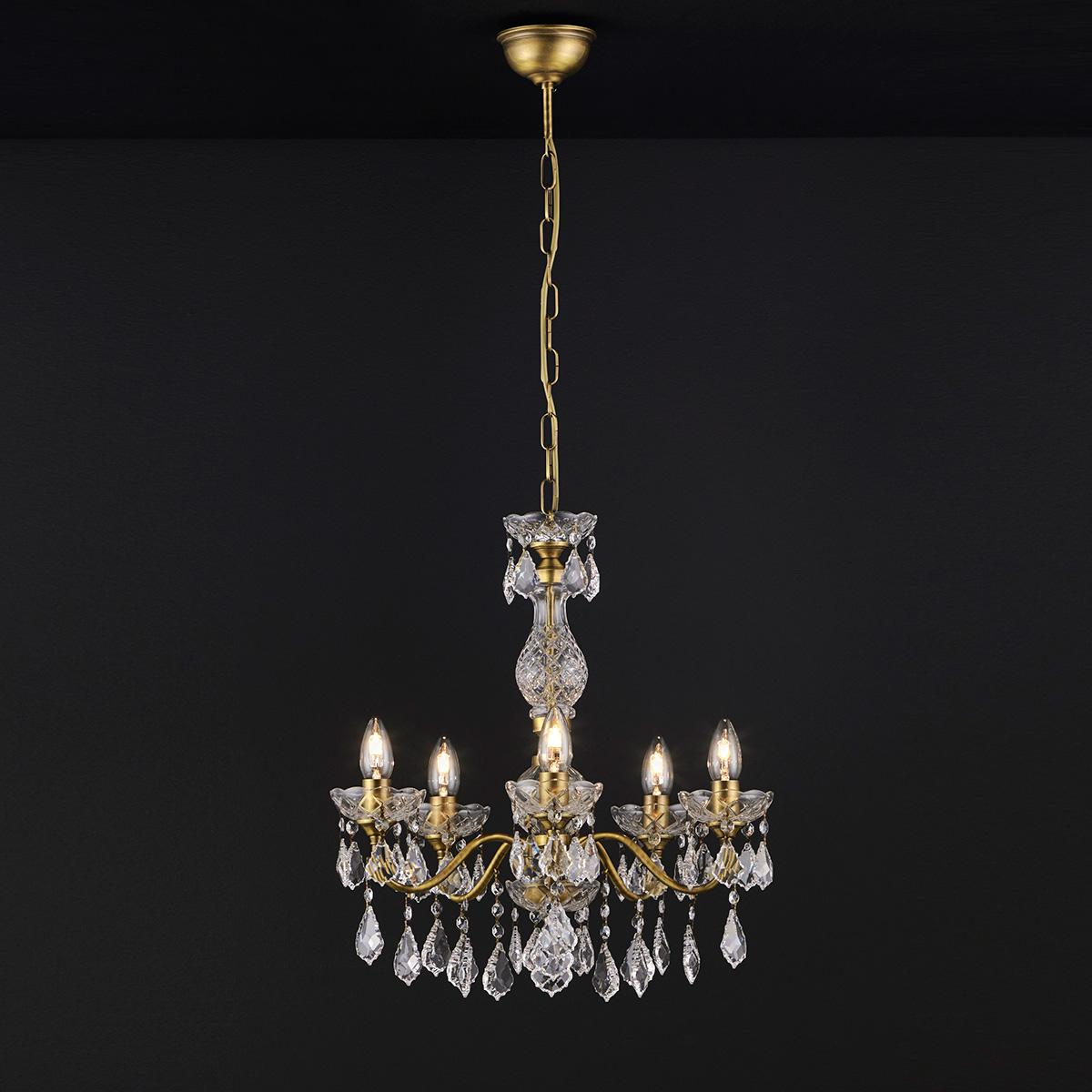 Κλασικό 5φωτο κρεμαστό φωτιστικό με κρύσταλλα ΔΙΟΝ classic 5-bulb chandelier with crystal accents