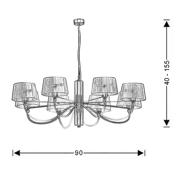 Modern chrome 8-bulb chandelier | ORGANZA - Drawing - Modern chrome 8-bulb chandelier | ORGANZA