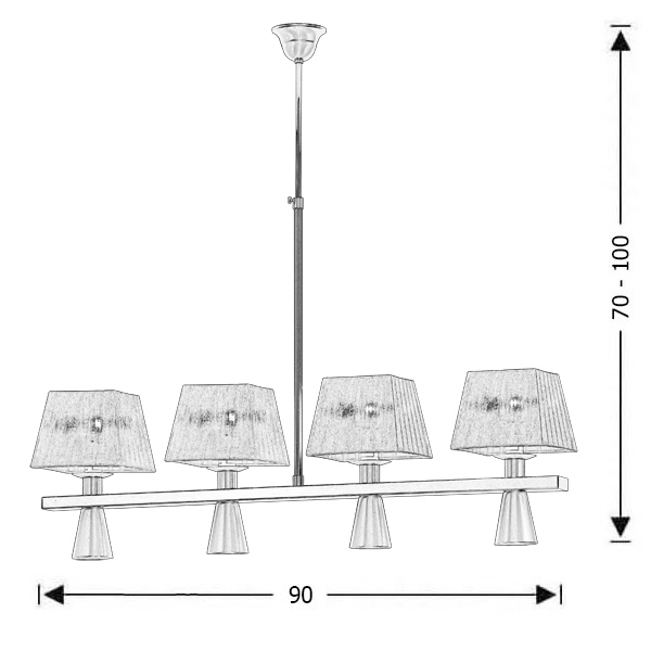 Rustic 8-bulb chandelier | SMART-CAFE - Drawing - Rustic 8-bulb chandelier | SMART-CAFE