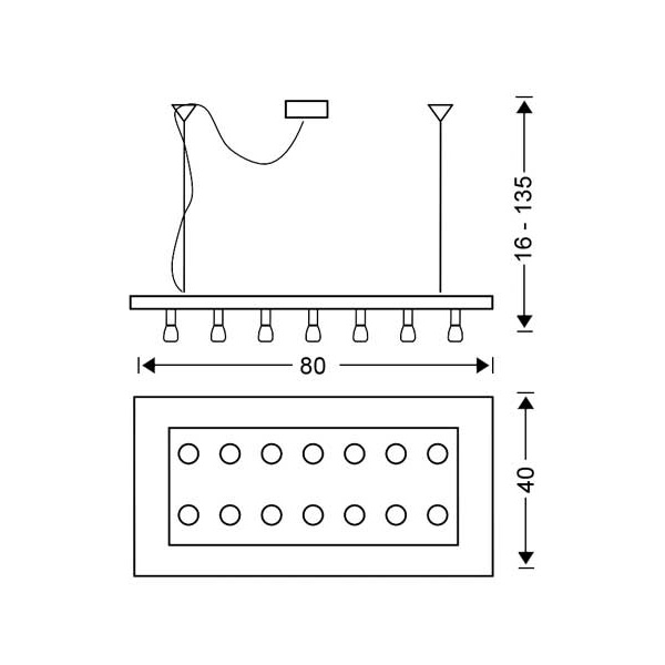 Modern 14-bulb chandelier | VETRO - Drawing - Modern 14-bulb chandelier | VETRO
