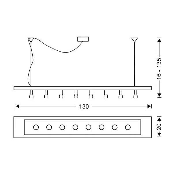 Modern 8-bulb chandelier | VETRO - Drawing - Modern 8-bulb chandelier | VETRO