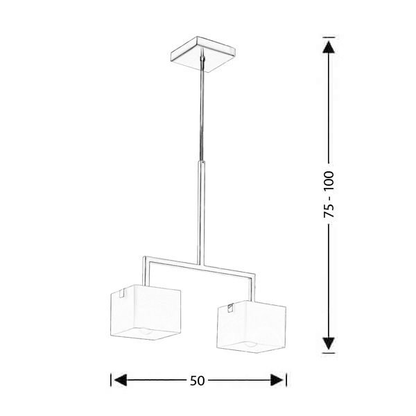 Modern suspension lamp |CUBE - Drawing - Modern suspension lamp |CUBE