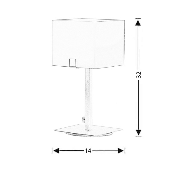 Modern Murano table lamp | CUBE - Drawing - Modern Murano table lamp | CUBE