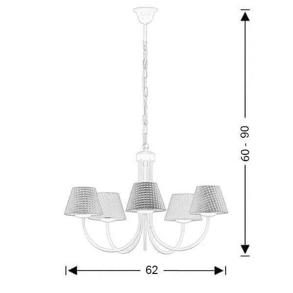 Chandelier with light blue plaided shades | BIANCO-1 - Drawing - Chandelier with light blue plaided shades | BIANCO-1