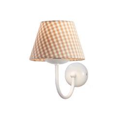 Επιτοίχιο φωτιστικό με καφέ καρό καπέλο BIANCO wall lamp