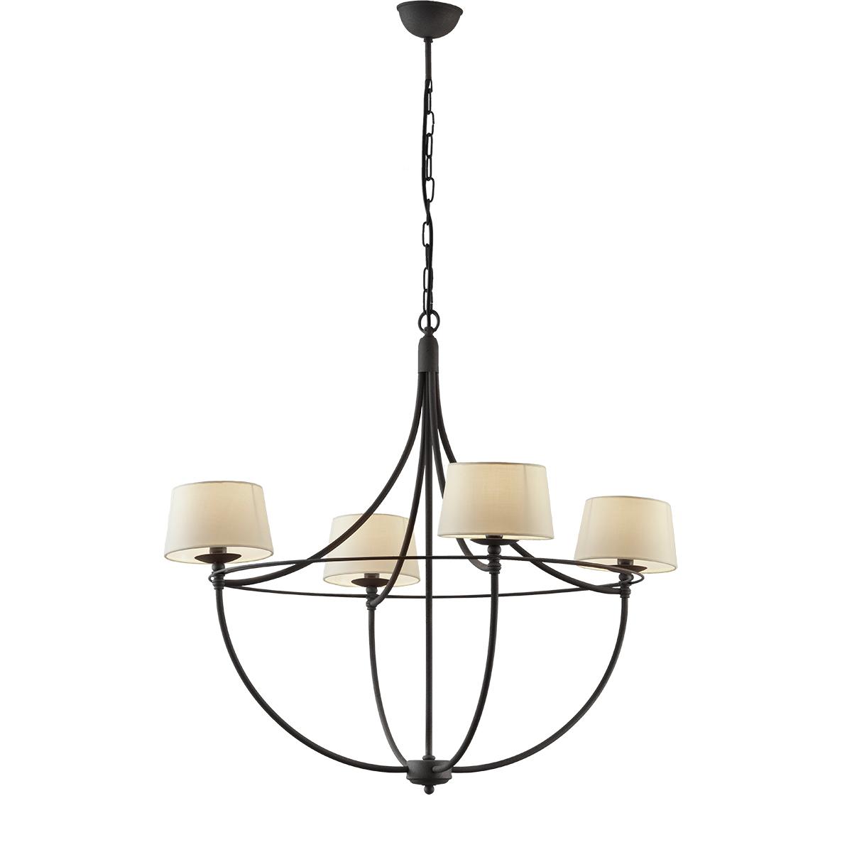 Κρεμαστό φωτιστικό με καπέλα σε πατίνα γραφίτη VILLAGE graphite patinated rustic chandelier with lamp shades