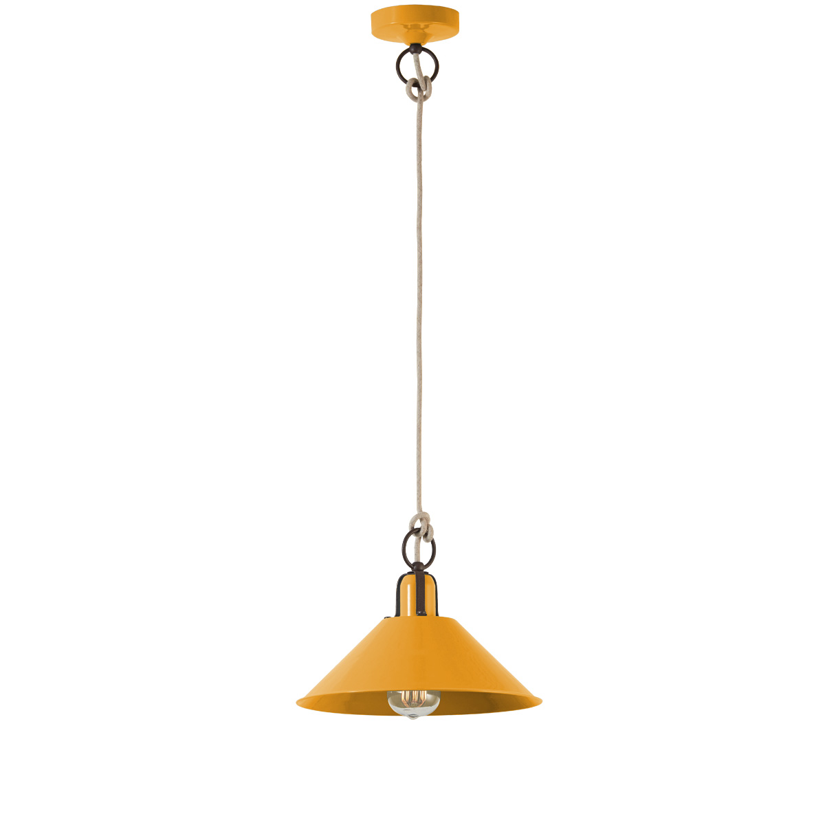 Ρετρό κρεμαστό φωτιστικό πορτοκαλοκίτρινο ΜΗΛΟΣ melon yellow retro pendant lamp