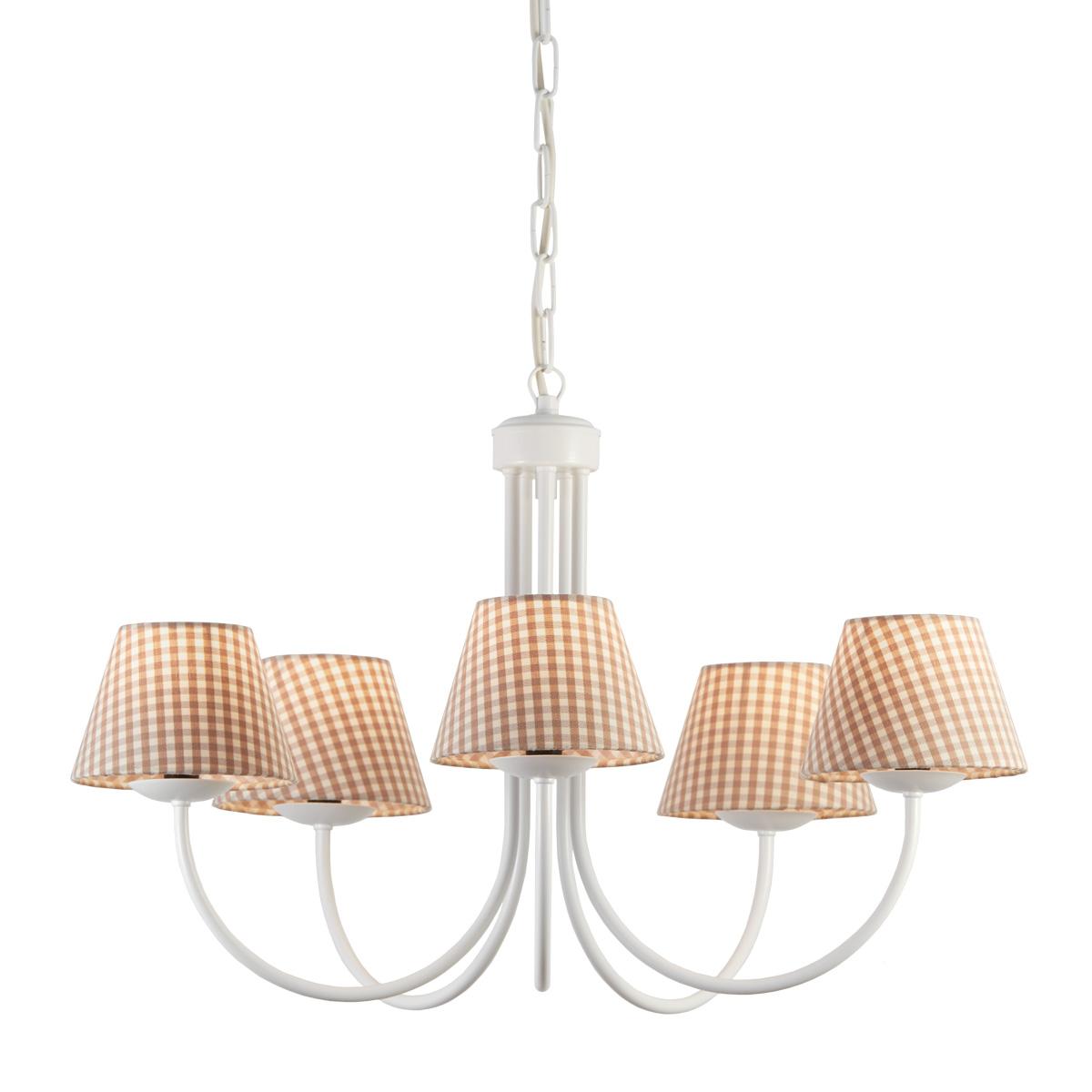Φωτιστικό λευκή πατίνα με καφέ καρό καπέλα BIANCO-2 white patinated chandelier with brown plaided shades