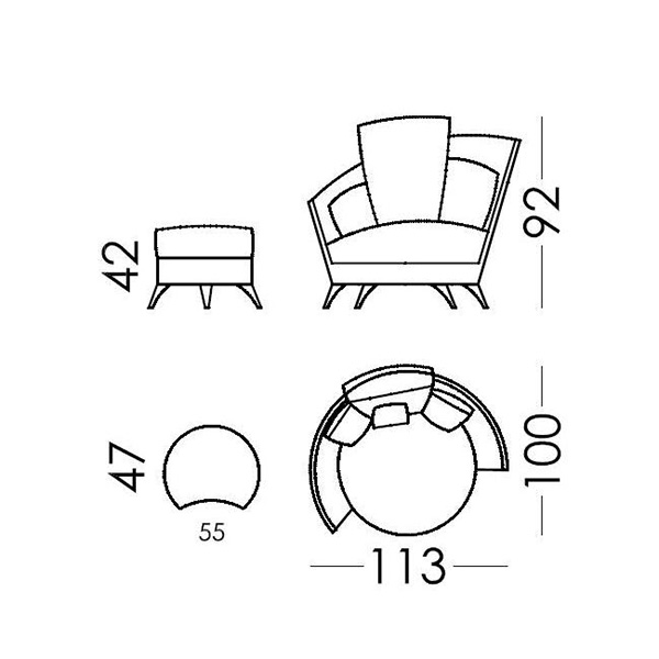 Armchair with footstool | ROXANE - Drawing - Armchair with footstool | ROXANE