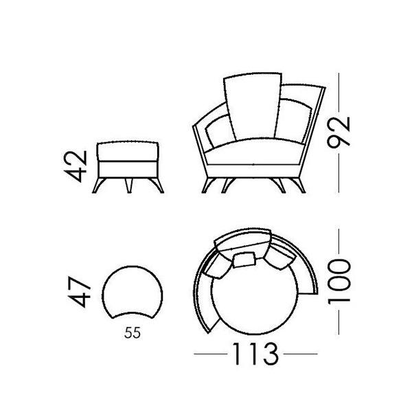 Πολυθρόνα με υποπόδιο | ROXANE - Σχέδιο - Πολυθρόνα με υποπόδιο | ROXANE