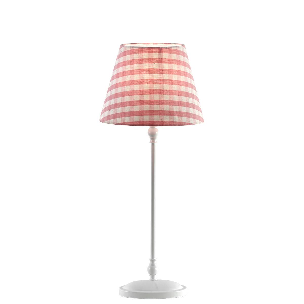 Παιδικό φωτιστικό επιτραπέζιο με ροζ καρό καπέλο BIANCO kids table lamp