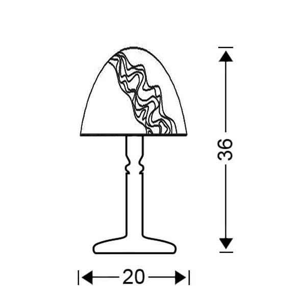 Brass table lamp handmade Murano crystal | BELLA - Drawing - Brass table lamp handmade Murano crystal | BELLA