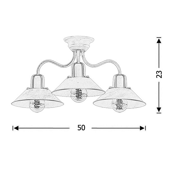Handmade retro ceiling lamp | MILOS - Drawing - Handmade retro ceiling lamp | MILOS