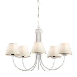 Φωτιστικό λευκή πατίνα με εκρού καπέλα BIANCO-2 white patinated chandelier with ecru shades