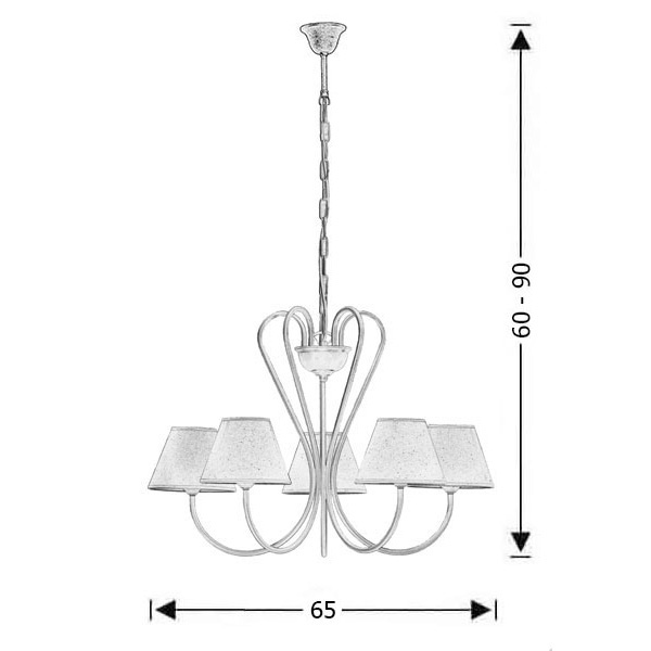 5-bulb rustic chandelier with shades | NAXOS-2 - Drawing - 5-bulb rustic chandelier with shades | NAXOS-2