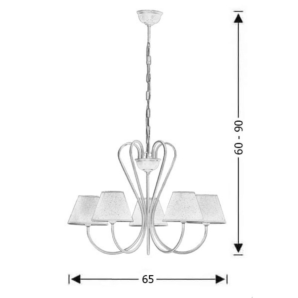 5-bulb chandelier with lamp shades | NAXOS-1 - Drawing - 5-bulb chandelier with lamp shades | NAXOS-1