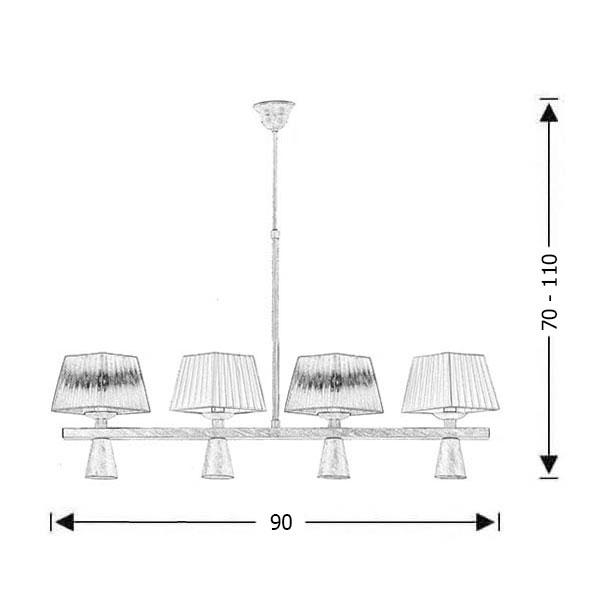 Vintage 8-bulb chandelier | SMART-CAFE - Drawing - Vintage 8-bulb chandelier | SMART-CAFE