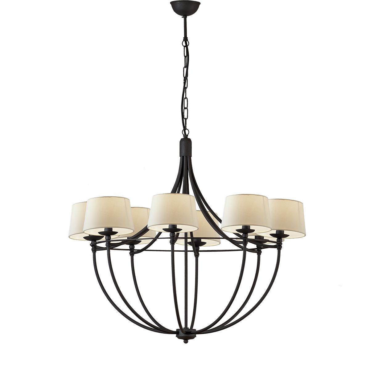 8φωτο φωτιστικό με καπέλα σε πατίνα γραφίτη VILLAGE graphite patinated 8-bulb chandelier with shades