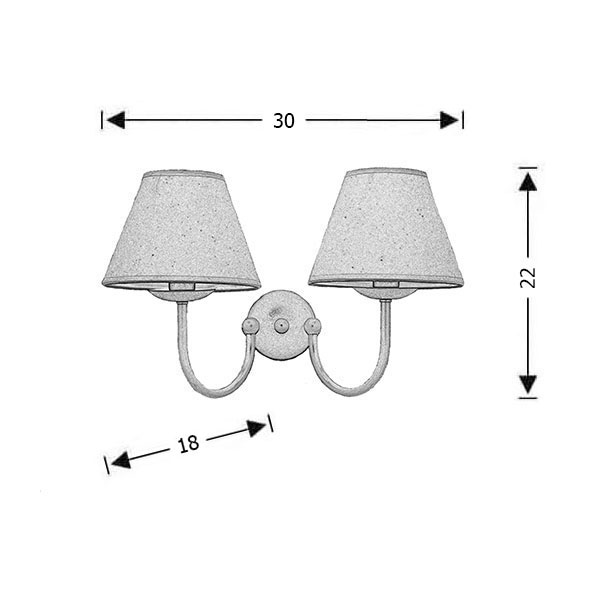 Rustic wall lamp brown plaided shades | BIANCO-2 - Drawing - Rustic wall lamp brown plaided shades | BIANCO-2
