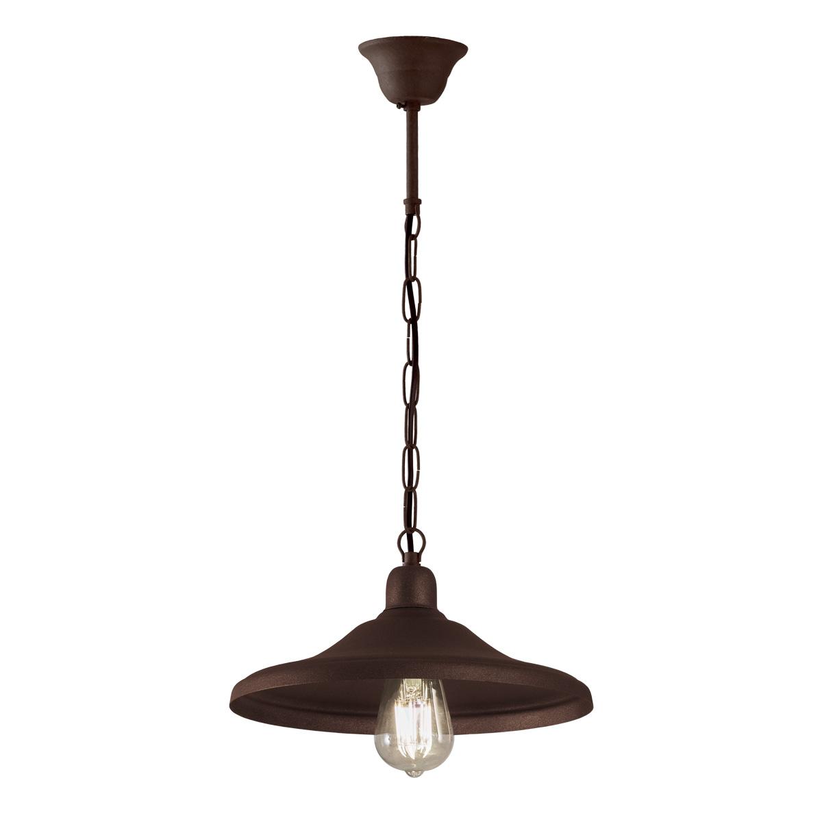Ρουστίκ κρεμαστό φωτιστικό σε καφέ πατίνα ΙΟΣ brown patinated rustic suspension lamp
