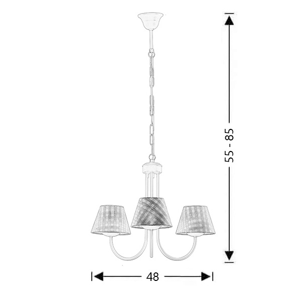 Chandelier with brown plaided shades | BIANCO-2 - Drawing - Chandelier with brown plaided shades | BIANCO-2