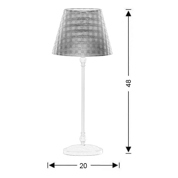 Rustic table lamp with brown plaided shade | BIANCO-2 - Drawing - Rustic table lamp with brown plaided shade | BIANCO-2