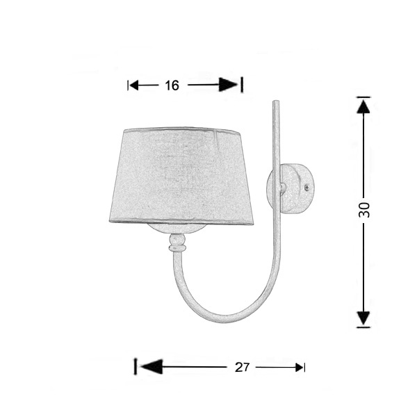 Retro wall lamp with shade | VILLAGE - Drawing - Retro wall lamp with shade | VILLAGE