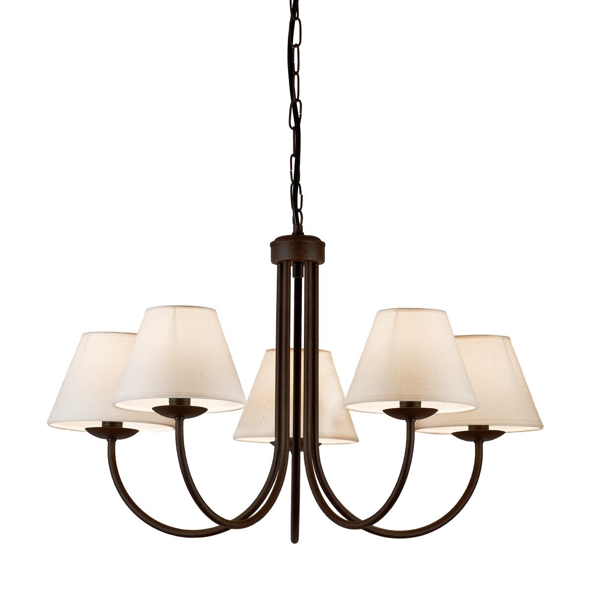 Φωτιστικό καφέ πατίνα με εκρού καπέλα BIANCO-2 brown patinated chandelier with ecru shades