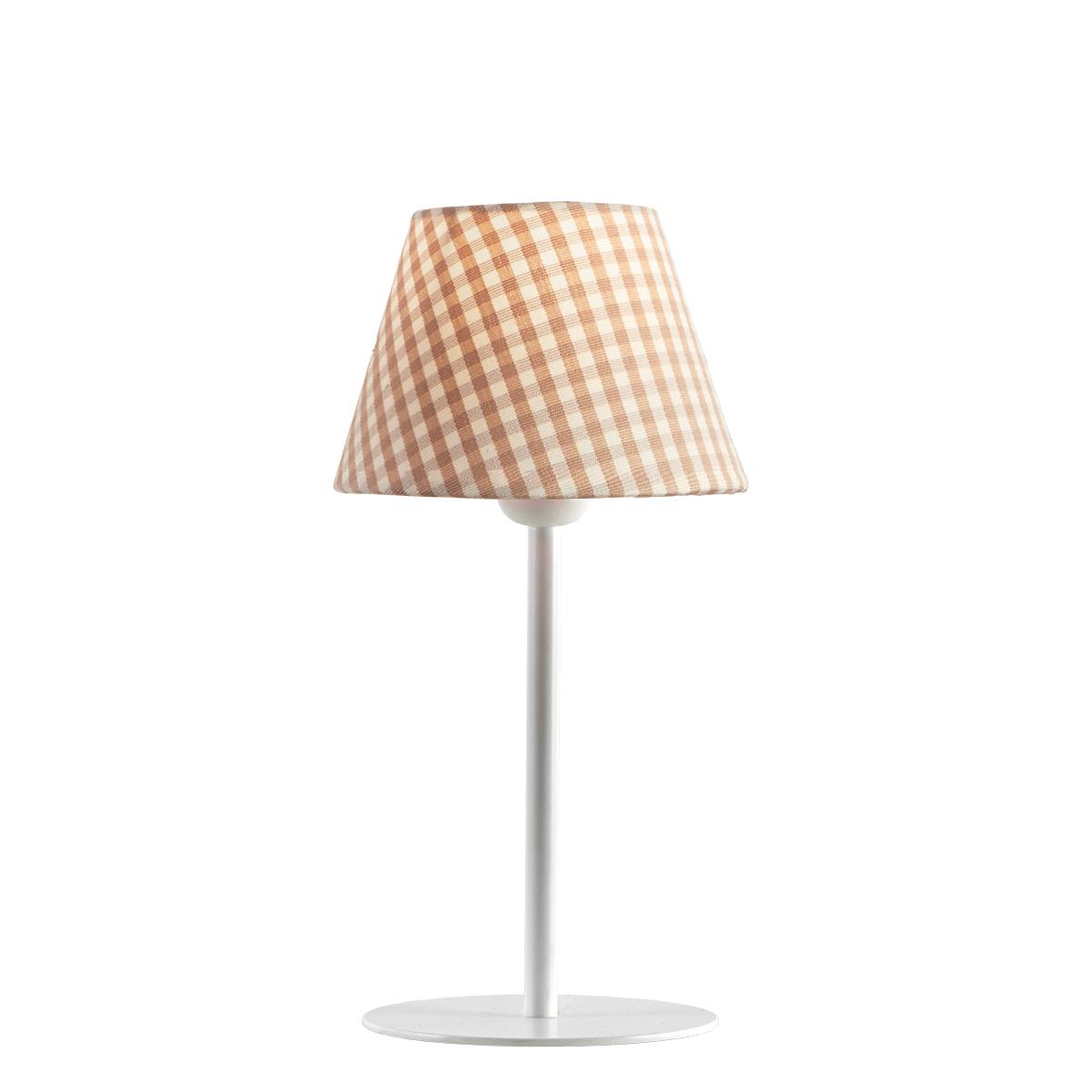 Φωτιστικό επιτραπέζιο με καφέ καρό καπέλο CAROUSEL table lamp with brown plaided shade