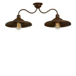 Παραδοσιακό φωτιστικό οροφής σε καφέ πατίνα ΙΟΣ brown patinated handmade rustic ceiling lamp