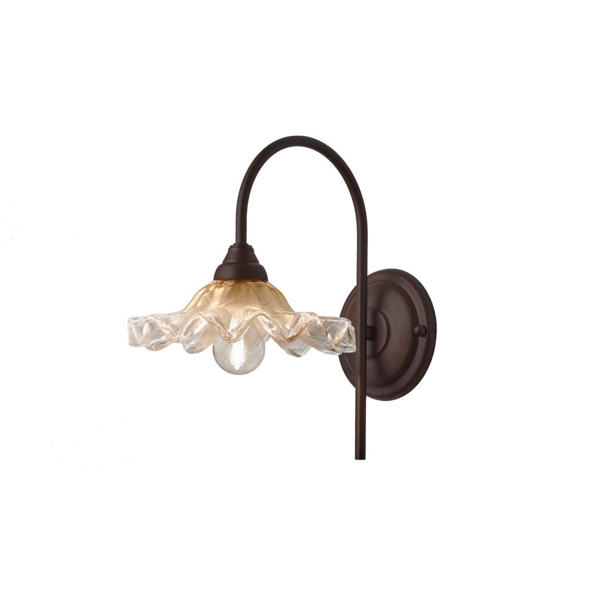 Απλίκα σκουριά με μελί γυαλί ΣΥΡΟΣ rusty wall lamp with amber glass shade