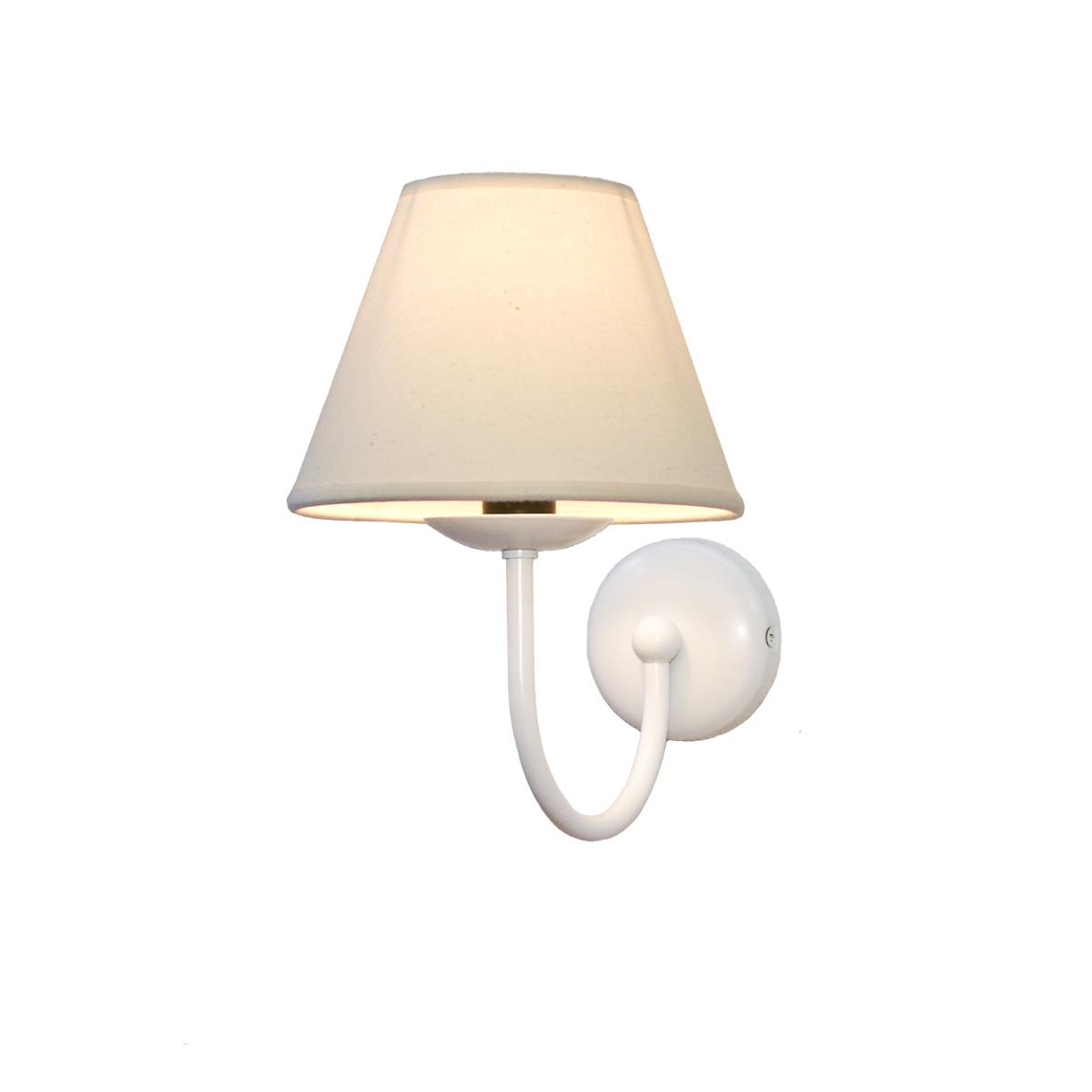 Φωτιστικό τοίχου σε λευκή πατίνα με καπέλο BIANCO-2 white patinated wall lamp with shade