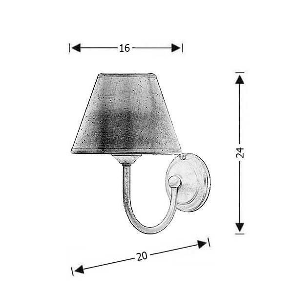 Rustic wall lamp with shade | NAXOS-2 - Drawing - Rustic wall lamp with shade | NAXOS-2