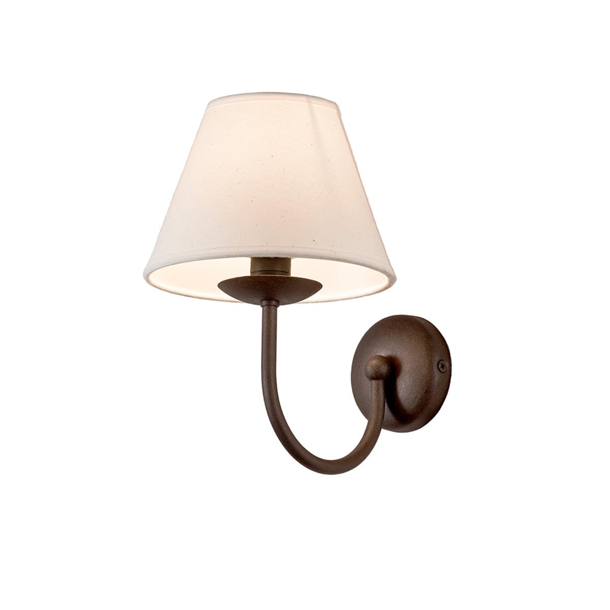 Φωτιστικό τοίχου σε καφέ πατίνα με καπέλο BIANCO-2 brown patinated wall lamp with shade
