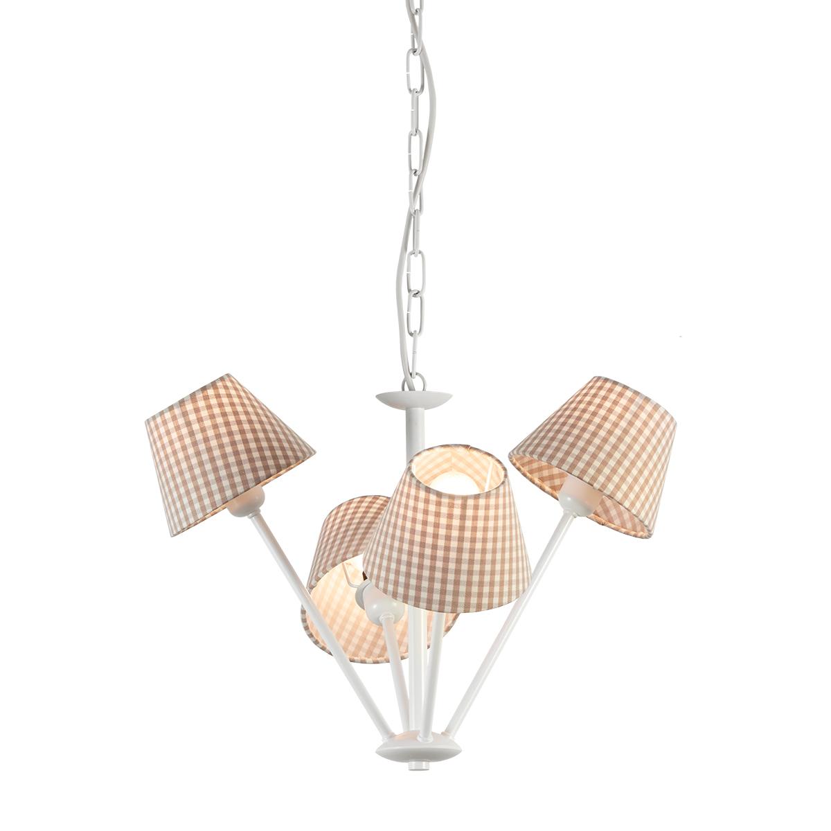 Κρεμαστό φωτιστικό με καφέ καρό καπέλα CAROUSEL pendant lamp with brown plaided shades