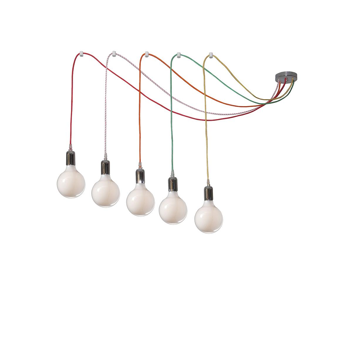 5φωτο φωτιστικό με χρωματιστά καλώδια ΚΑΛΩΔΙΑ 5-bulb chandelier with colorful cables
